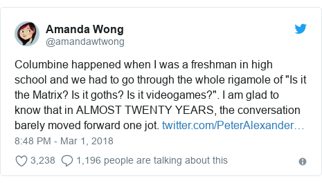"""Twitter post by @amandawtwong: Columbine happened when I was a freshman in high school and we had to go through the whole rigamole of """"Is it the Matrix? Is it goths? Is it videogames?"""". I am glad to know that in ALMOST TWENTY YEARS, the conversation barely moved forward one jot."""