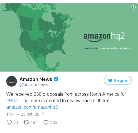 Publicación de Twitter por @amazonnews: We received 238 proposals from across North America for #HQ2. The team is excited to review each of them!