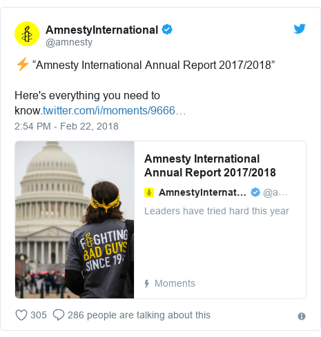 """Twitter post by @amnesty: ⚡️ """"Amnesty International Annual Report 2017/2018"""" Here's everything you need to know."""