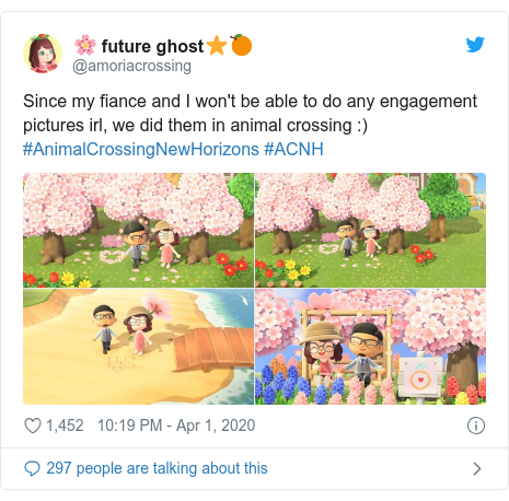 Twitter post by @amoriacrossing: Since my fiance and I won't be able to do any engagement pictures irl, we did them in animal crossing  ) #AnimalCrossingNewHorizons #ACNH