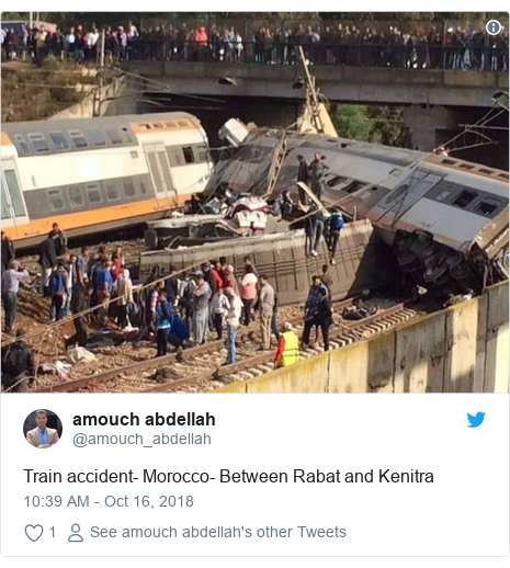 Twitter post by @amouch_abdellah: Train accident- Morocco- Between Rabat and Kenitra