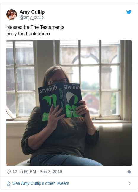 Twitter post by @amy_cutlip: blessed be The Testaments (may the book open)