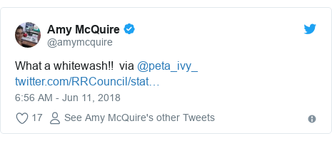 Twitter post by @amymcquire: What a whitewash!!  via @peta_ivy_