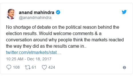 Twitter post by @anandmahindra: No shortage of debate on the political reason behind the election results. Would welcome comments & a conversation around why people think the markets reacted the way they did as the results came in..