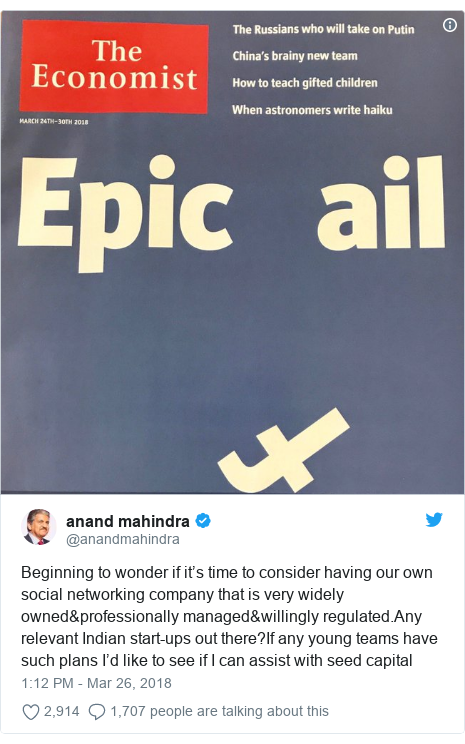 Twitter post by @anandmahindra: Beginning to wonder if it's time to consider having our own social networking company that is very widely owned&professionally managed&willingly regulated.Any relevant Indian start-ups out there?If any young teams have such plans I'd like to see if I can assist with seed capital