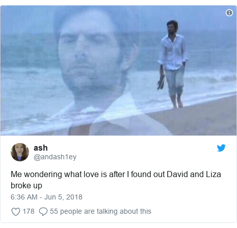 Twitter post by @andash1ey: Me wondering what love is after I found out David and Liza broke up