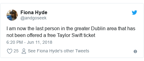 Twitter post by @andgoseek: I am now the last person in the greater Dublin area that has not been offered a free Taylor Swift ticket