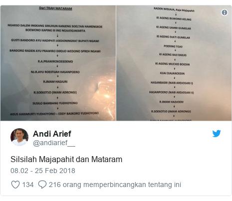 Twitter pesan oleh @andiarief__: Silsilah Majapahit dan Mataram