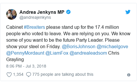 Twitter post by @andreajenkyns: Cabinet #Brexiters please stand up for the 17.4 million people who voted to leave. We are relying on you. We know some of you want to be the future Party Leader. Please show your steel on Friday. @BorisJohnson @michaelgove @PennyMordaunt @LiamFox @andrealeadsom Chris Grayling