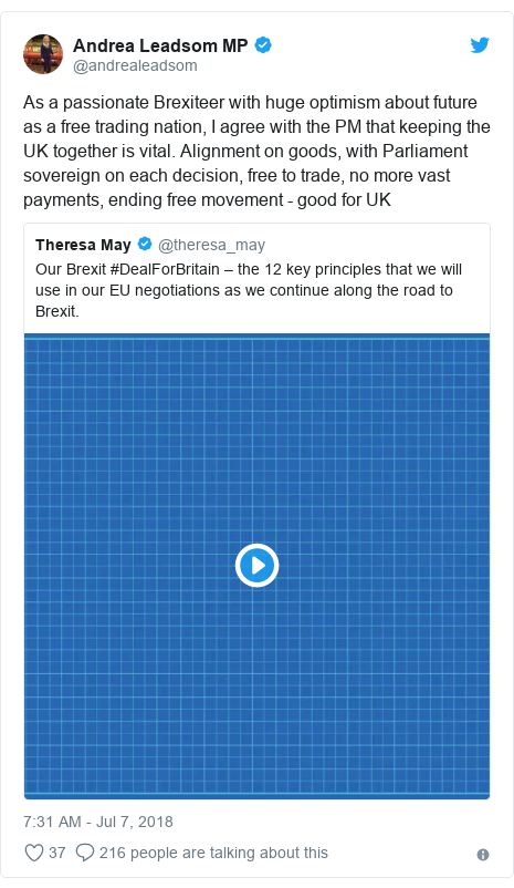 Twitter post by @andrealeadsom: As a passionate Brexiteer with huge optimism about future as a free trading nation, I agree with the PM that keeping the UK together is vital. Alignment on goods, with Parliament sovereign on each decision, free to trade, no more vast payments, ending free movement - good for UK