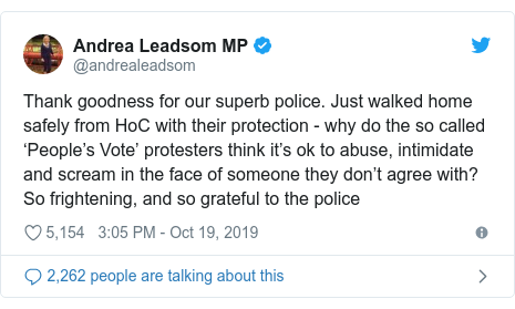 Twitter post by @andrealeadsom: Thank goodness for our superb police. Just walked home safely from HoC with their protection - why do the so called 'People's Vote' protesters think it's ok to abuse, intimidate and scream in the face of someone they don't agree with? So frightening, and so grateful to the police