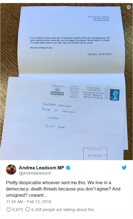 Twitter post by @andrealeadsom: Pretty despicable whoever sent me this. We live in a democracy- death threats because you don't agree? And unsigned? coward...