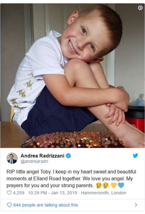 Twitter post by @andrearadri: RIP little angel Toby. I keep in my heart sweet and beautiful moments at Elland Road together. We love you angel. My prayers for you and your strong parents. 😢😢 💛💙