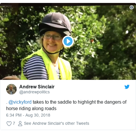 Twitter post by @andrewpolitics: . @vickyford takes to the saddle to highlight the dangers of horse riding along roads