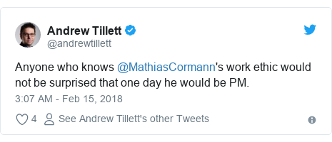 Twitter post by @andrewtillett: Anyone who knows @MathiasCormann's work ethic would not be surprised that one day he would be PM.