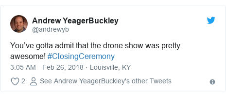 Twitter post by @andrewyb: You've gotta admit that the drone show was pretty awesome! #ClosingCeremony