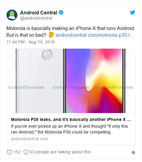 Twitter post by @androidcentral: Motorola is basically making an iPhone X that runs Android. But is that so bad? 🤔