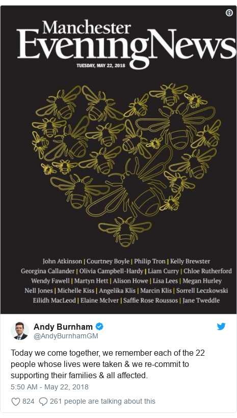 Twitter post by @AndyBurnhamGM: Today we come together, we remember each of the 22 people whose lives were taken & we re-commit to supporting their families & all affected.
