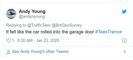 Twitter post by @andyhyoung: It felt like the car rolled into the garage door #TeesTremor