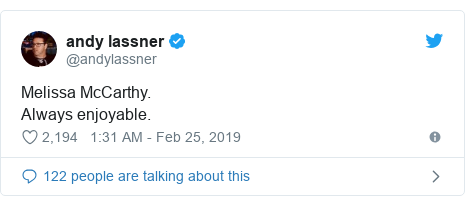 Twitter post by @andylassner: Melissa McCarthy. Always enjoyable.