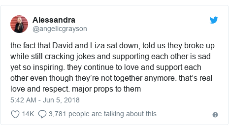 Twitter post by @angeIicgrayson: the fact that David and Liza sat down, told us they broke up while still cracking jokes and supporting each other is sad yet so inspiring. they continue to love and support each other even though they're not together anymore. that's real love and respect. major props to them