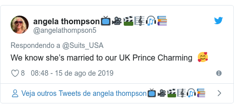 Twitter post de @angelathompson5: We know she's married to our UK Prince Charming  🥰