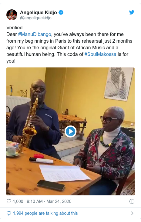 Twitter post by @angeliquekidjo: VerifiedDear #ManuDibango, you've always been there for me from my beginnings in Paris to this rehearsal just 2 months ago! You re the original Giant of African Music and a beautiful human being. This coda of #SoulMakossa is for you!