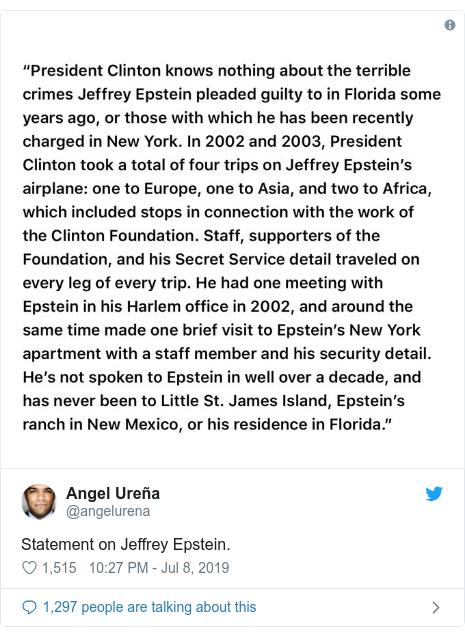 Twitter post by @angelurena: Statement on Jeffrey Epstein.