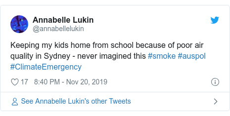 Twitter post by @annabellelukin: Keeping my kids home from school because of poor air quality in Sydney - never imagined this #smoke #auspol #ClimateEmergency