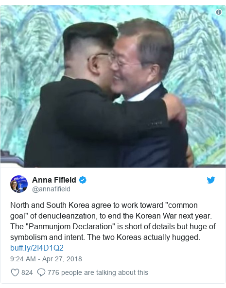 "Twitter post by @annafifield: North and South Korea agree to work toward ""common goal"" of denuclearization, to end the Korean War next year. The ""Panmunjom Declaration"" is short of details but huge of symbolism and intent. The two Koreas actually hugged."