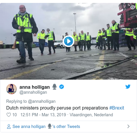 Twitter post by @annaholligan: Dutch ministers proudly peruse port preparations #Brexit
