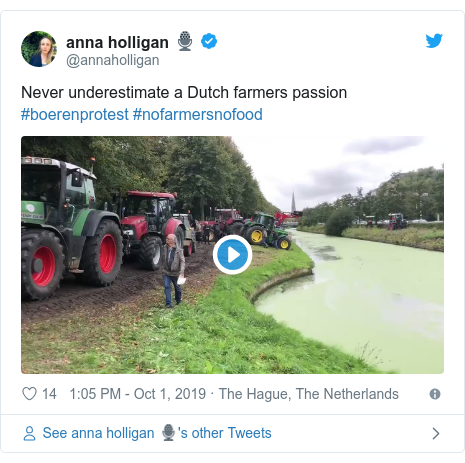 Twitter post by @annaholligan: Never underestimate a Dutch farmers passion #boerenprotest #nofarmersnofood