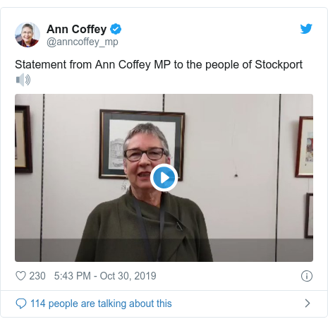 Twitter post by @anncoffey_mp: Statement from Ann Coffey MP to the people of Stockport🔊