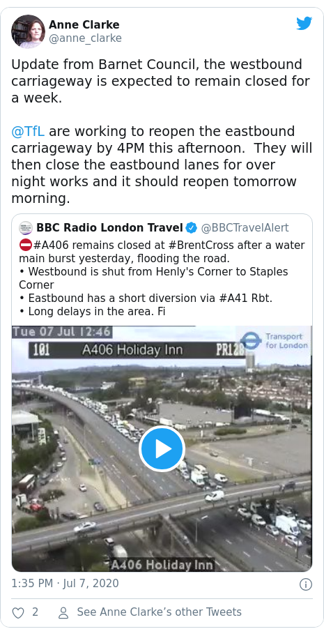 Twitter post by @anne_clarke: Update from Barnet Council, the westbound carriageway is expected to remain closed for a week.@TfL are working to reopen the eastbound carriageway by 4PM this afternoon.  They will then close the eastbound lanes for over night works and it should reopen tomorrow morning.
