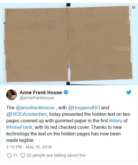Twitter post by @annefrankhouse: The @annefrankhouse , with @HuygensING and @NIODAmsterdam, today presented the hidden text on two pages covered up with gummed paper in the first #diary of #AnneFrank, with its red checked cover. Thanks to new technology the text on the hidden pages has now been made legible.