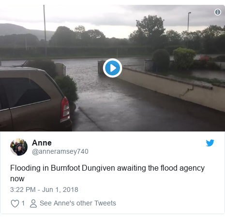 Twitter post by @anneramsey740: Flooding in Burnfoot Dungiven awaiting the flood agency now