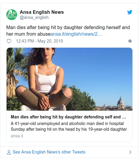 Twitter post by @ansa_english: Man dies after being hit by daughter defending herself and her mum from abuse