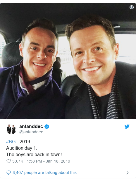 Twitter post by @antanddec: #BGT 2019.Audition day 1.The boys are back in town!