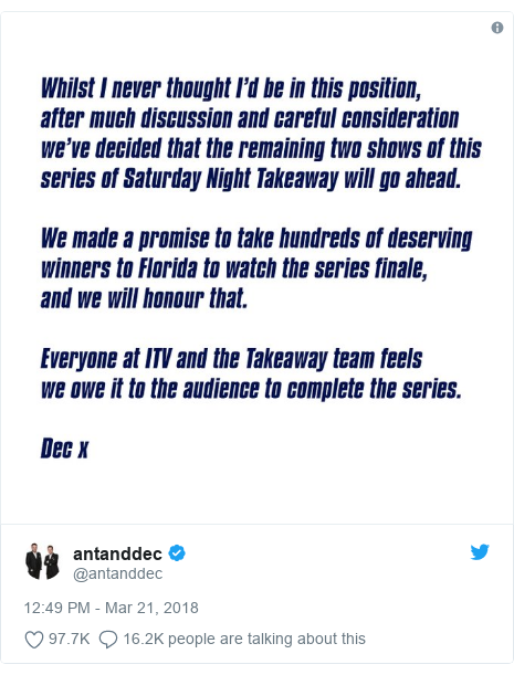 Twitter post by @antanddec: