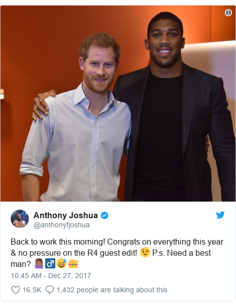 Twitter post by @anthonyfjoshua: Back to work this morning! Congrats on everything this year & no pressure on the R4 guest edit! 😉 P.s. Need a best man? 🤷🏾♂😅👑