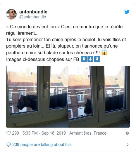 Twitter post by @antonbundle: «Ce monde devient fou» C'est un mantra que je répète régulièrement...Tu sors promener ton chien après le boulot, tu vois flics et pompiers au loin... Et là, stupeur, on t'annonce qu'une panthère noire se balade sur les chêneaux !!! 😱Images ci-dessous chopées sur FB ⬇️⬇️⬇️
