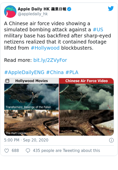 Twitter post by @appledaily_hk: A Chinese air force video showing a simulated bombing attack against a #US military base has backfired after sharp-eyed netizens realized that it contained footage lifted from #Hollywood blockbusters.Read more  #AppleDailyENG #China #PLA