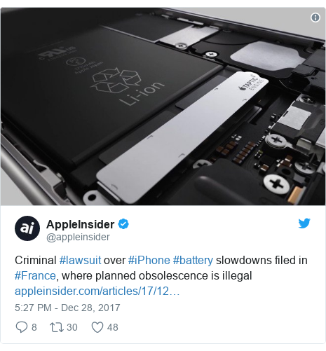 Twitter post by @appleinsider: Criminal #lawsuit over #iPhone #battery slowdowns filed in #France, where planned obsolescence is illegal