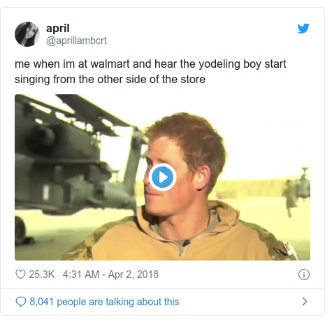 Twitter post by @aprillambcrt: me when im at walmart and hear the yodeling boy start singing from the other side of the store