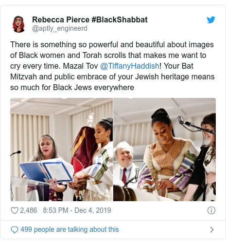 Twitter post by @aptly_engineerd: There is something so powerful and beautiful about images of Black women and Torah scrolls that makes me want to cry every time. Mazal Tov @TiffanyHaddish! Your Bat Mitzvah and public embrace of your Jewish heritage means so much for Black Jews everywhere