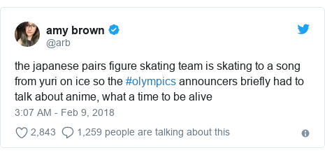 Twitter post by @arb: the japanese pairs figure skating team is skating to a song from yuri on ice so the #olympics announcers briefly had to talk about anime, what a time to be alive