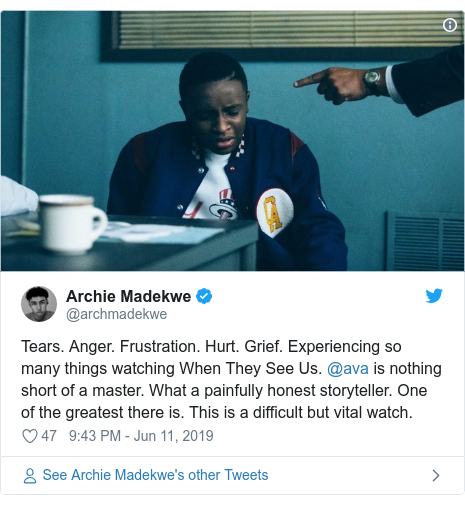 Twitter post by @archmadekwe: Tears. Anger. Frustration. Hurt. Grief. Experiencing so many things watching When They See Us. @ava is nothing short of a master. What a painfully honest storyteller. One of the greatest there is. This is a difficult but vital watch.