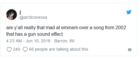 Twitter post by @arcticsnessa: are y'all really that mad at eminem over a song from 2002 that has a gun sound effect