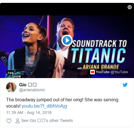 Twitter post by @arianabionic: The broadway jumped out of her omg! She was serving vocals!