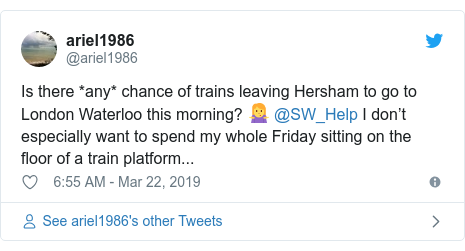 Twitter post by @ariel1986: Is there *any* chance of trains leaving Hersham to go to London Waterloo this morning? 🤷♀️ @SW_Help I don't especially want to spend my whole Friday sitting on the floor of a train platform...